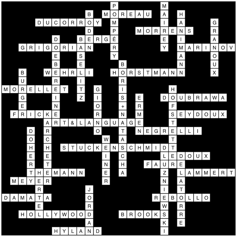 Crossword with names of designers