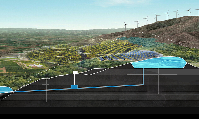 Rendering of mountainous landscape showing green energy proposals