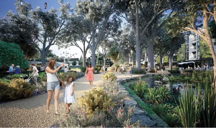 Rendering of garden design by Weller