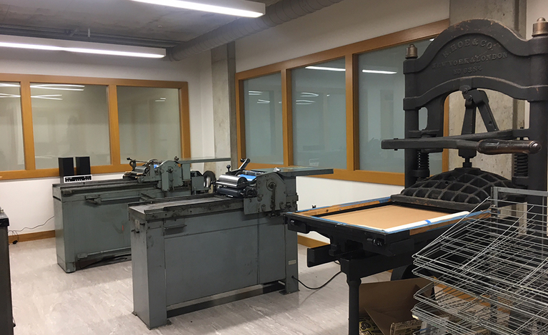 Studio with various kinds of printing presses