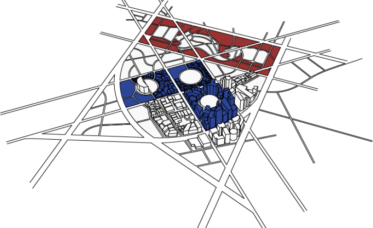 Illustration of city area design in such a way that street plan resembles the UPenn logo