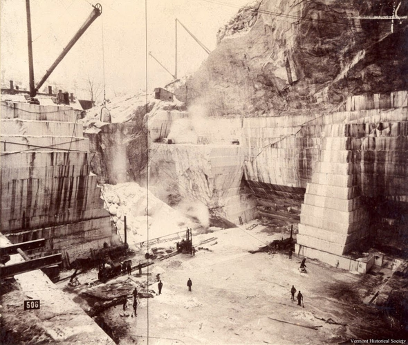 Historic photo of a stone quarry