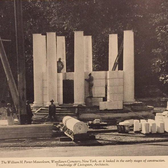Historic photo of a marble pavilion under construction in a cemetery