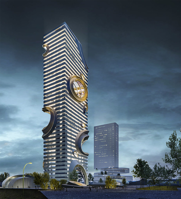 Architectural rendering of a skyscraper with irregular edges