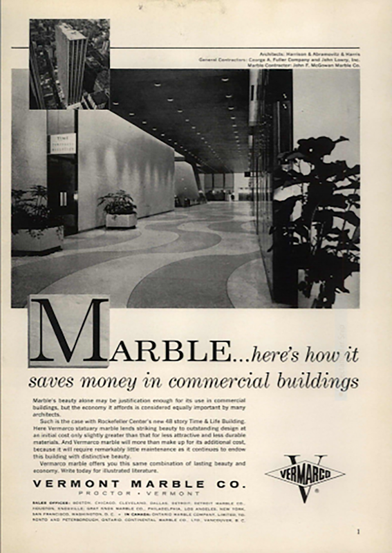 Historic ad from a magazine selling marble
