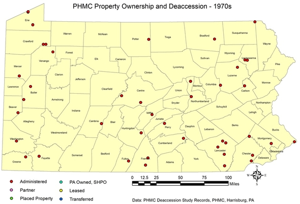 PHMC Property Ownership and Deaccession PA map 1970