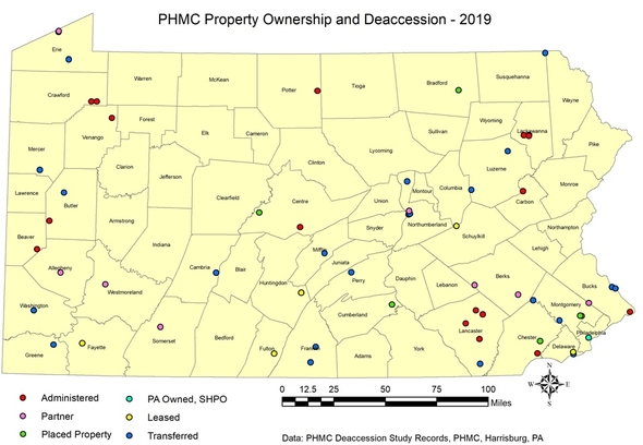 PHMC Property Ownership and Deaccession PA map 2019