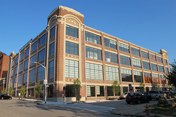1500 Barclay Street, Baltimore after being rehabilitated through receivership. It is now home to the Baltimore Design School. (