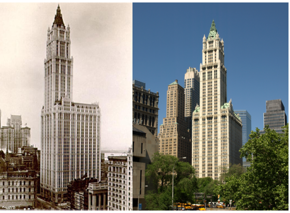 New York City office buildings then and now