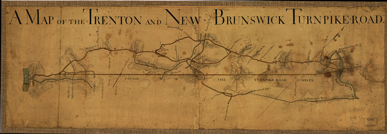 An 1810 map of the Trenton and New-Brunswick Turnpikes