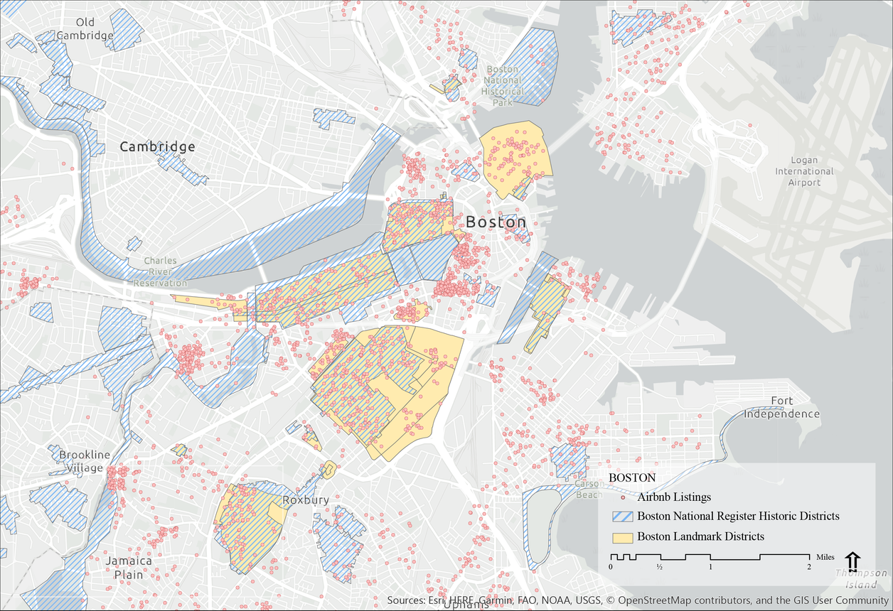 Map of Boston comparing air bnb locations with historical landmark locations