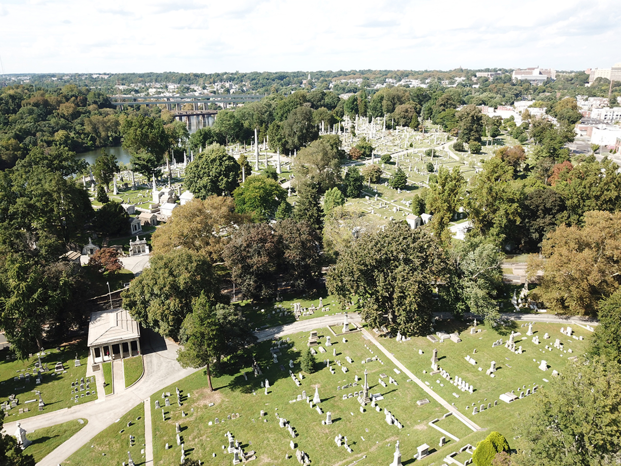 Aerial view of an old cemetery