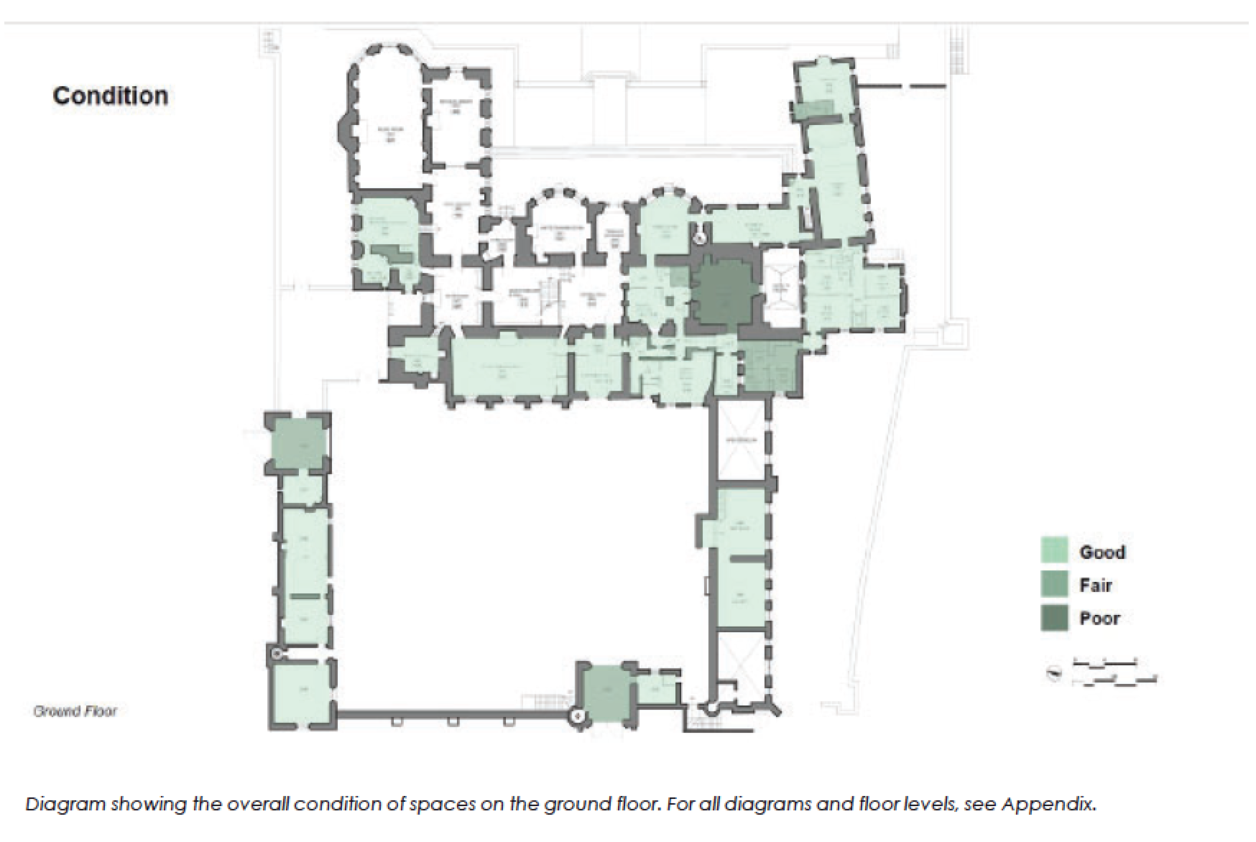 Diagram showing floorplan of a large house