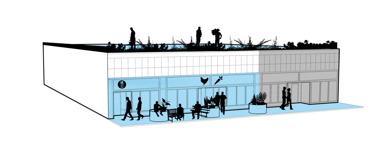 Rendering of a block of stores