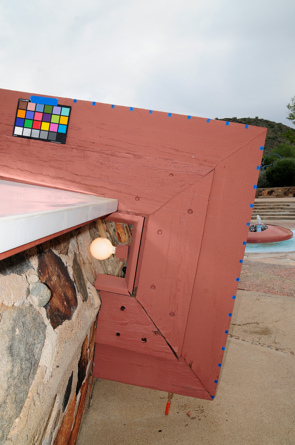 Working on section of roof at Taliesin West