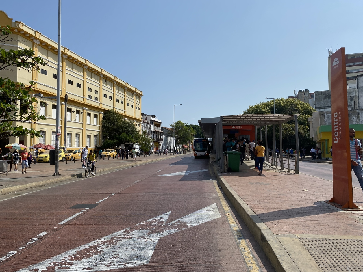 Street scene with a bus station