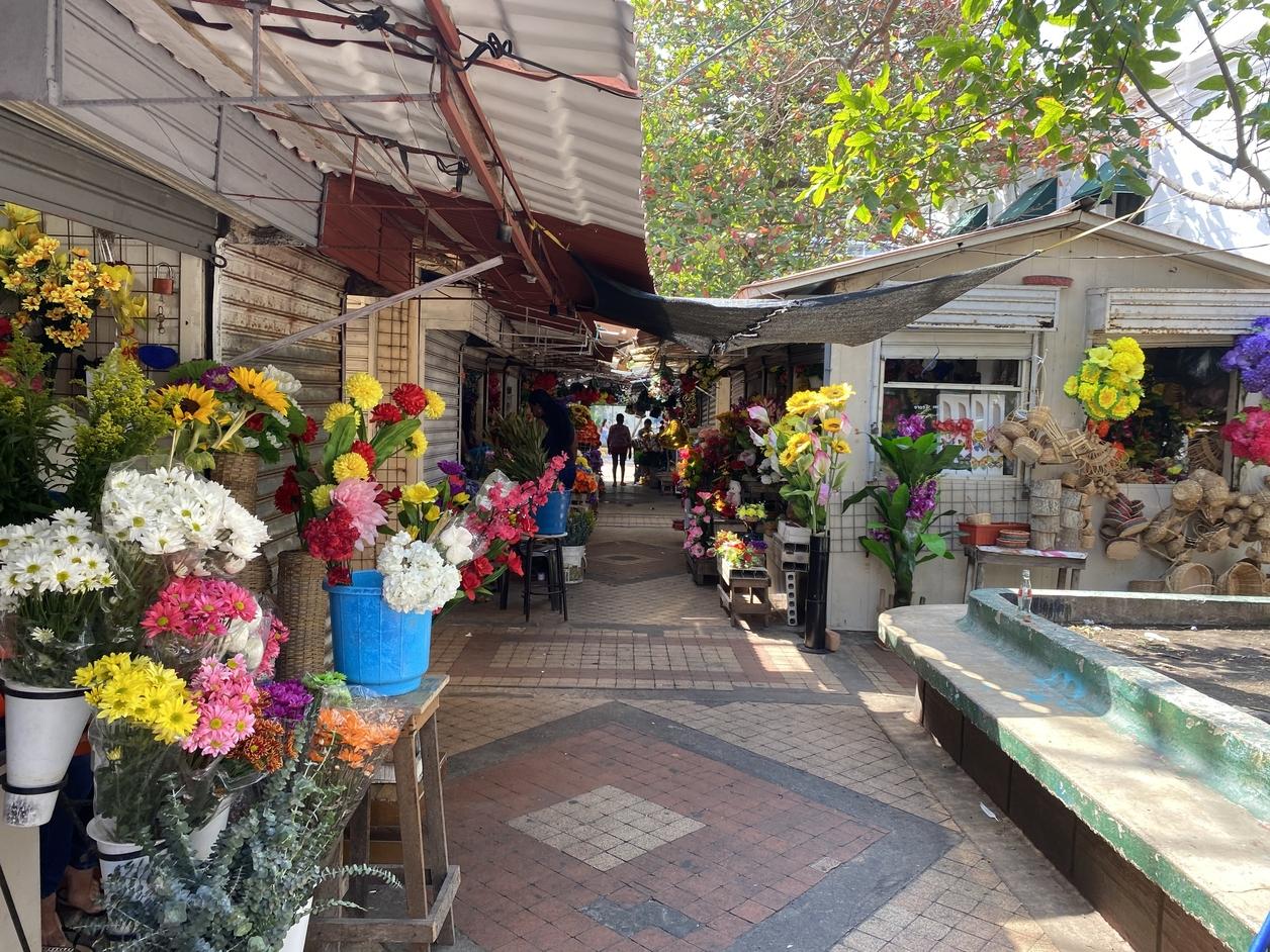 Flower vendors along a walkway