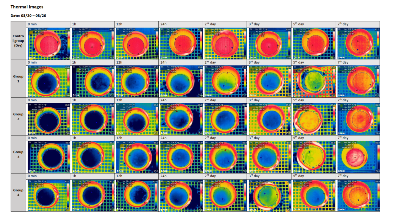 Thermal images showing results of testing