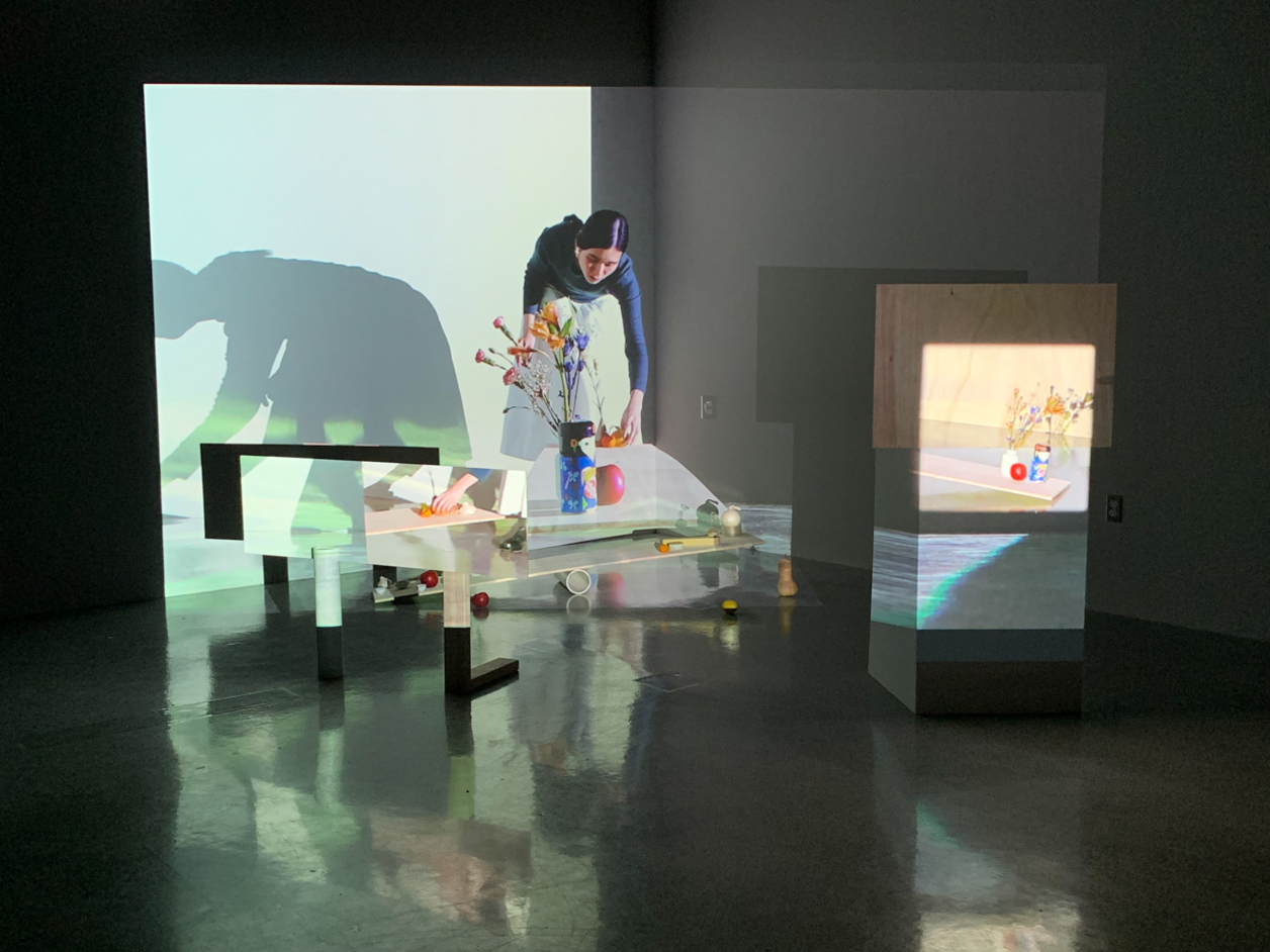 Artist installation with video projection and performer
