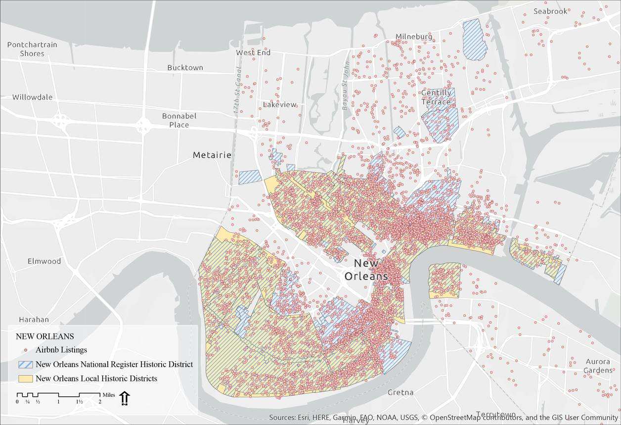 Map of New Orleans comparing air bnb listings with historic districts