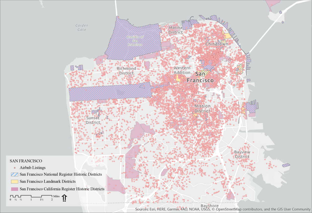 Map of San Francisco comparing air bnb locations with historical landmark locations