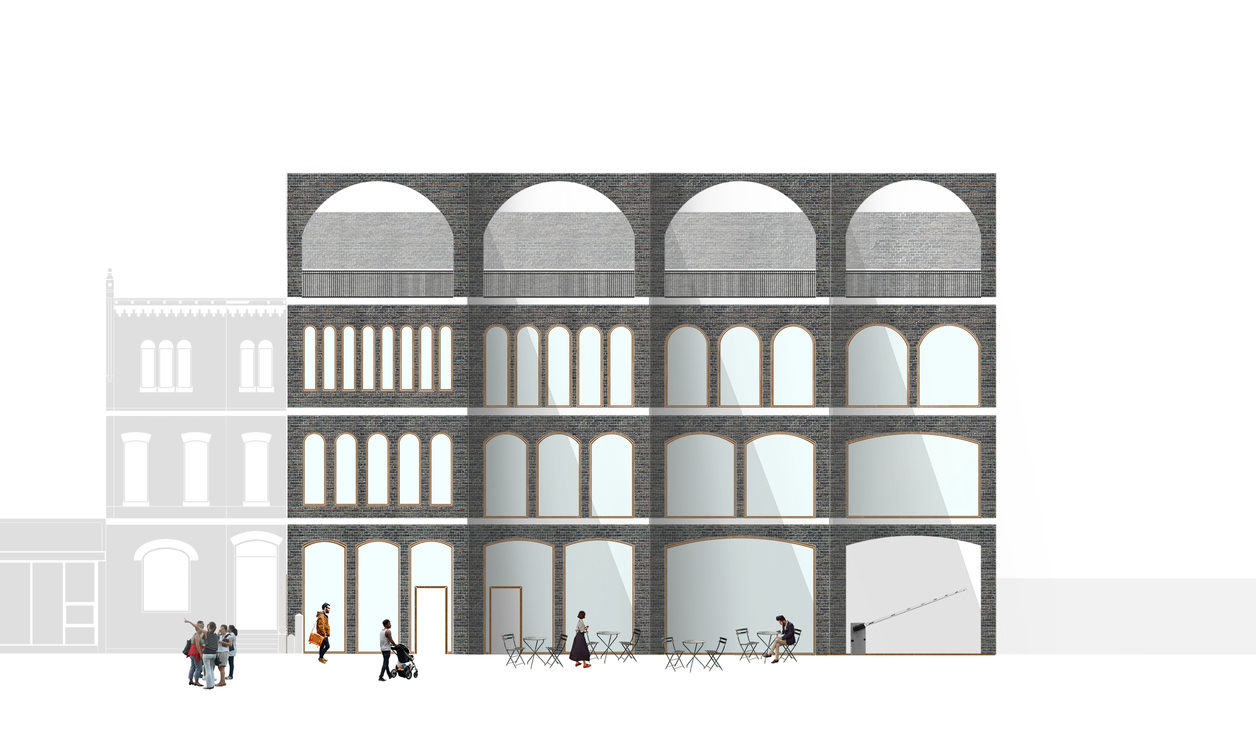 Rendering of the facade of a building