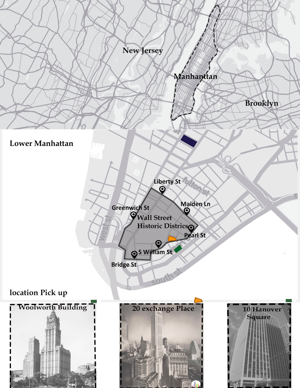 Map of Manhattan with Wall Street Historic Area highlighted