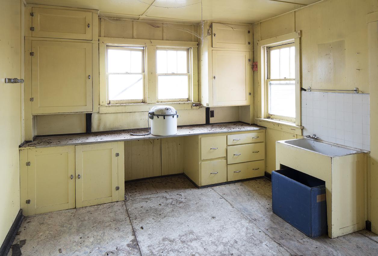 Run down kitchen in Moulton house