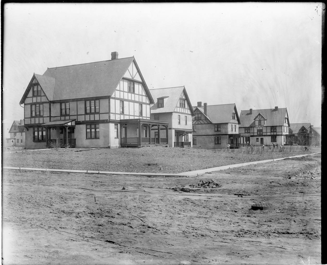 Black and white photo of housing development in Princeton NJ