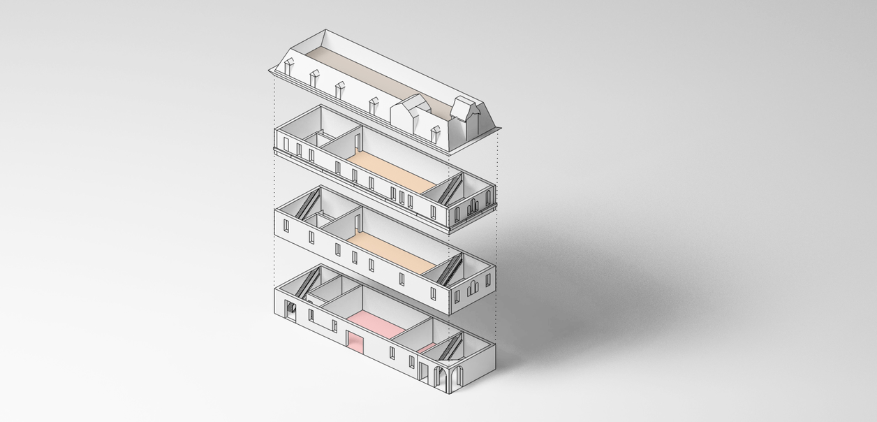 Rendering of a building that is four stories tall