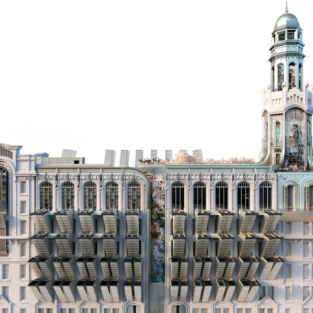 Rendering of an Art Deco building with new interventions