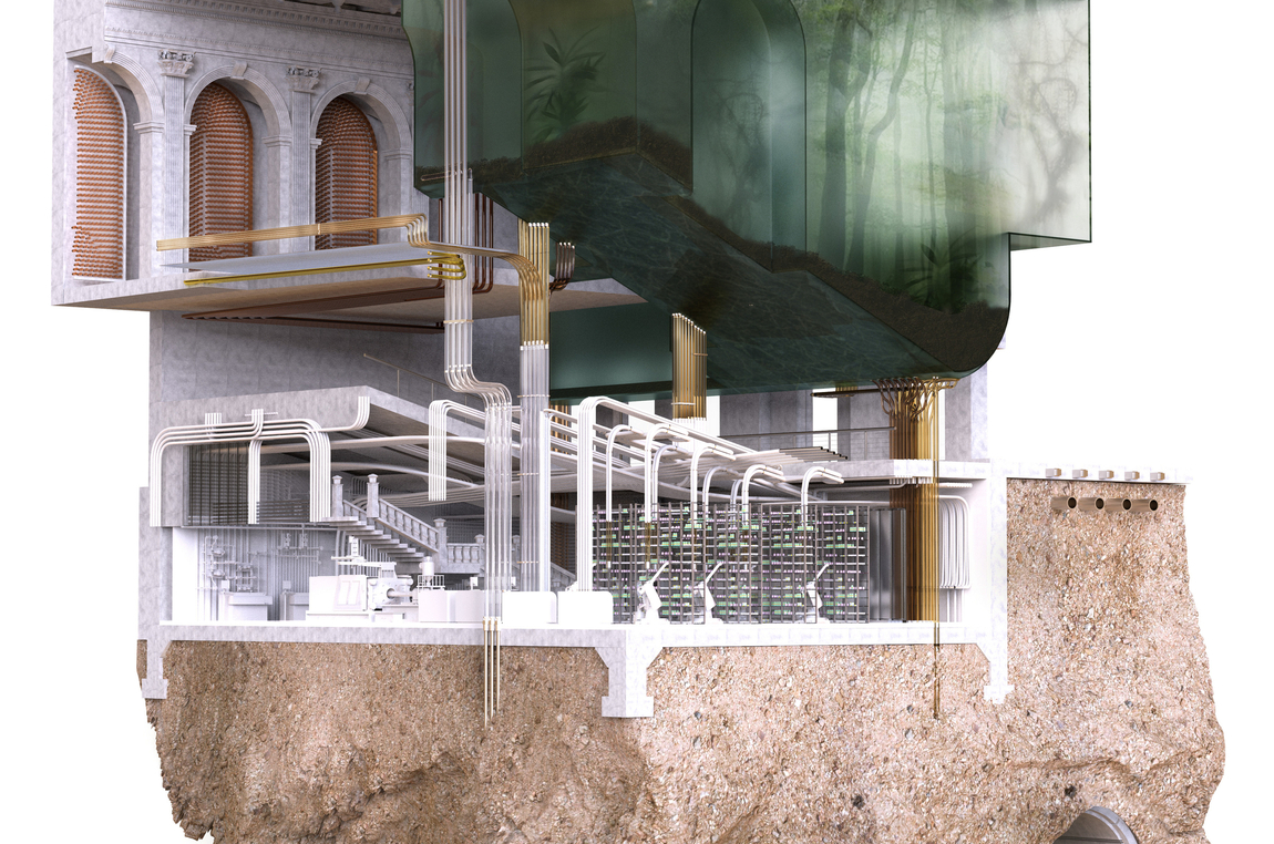 Chunk rendering of an Art Deco building with new interventions